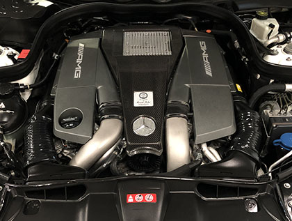 E63 AMG twin turbo V8 engine